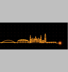zaragoza light streak skyline profile vector image