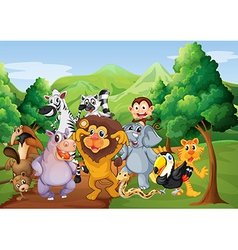 A group of animals at the jungle vector image vector image