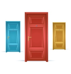 Three doors blue red and yellow vector