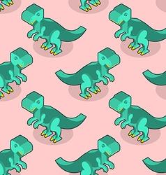 Tyrannosaurus isometric texture Dinosaur seamless vector image