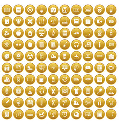 100 learning kids icons set gold vector image