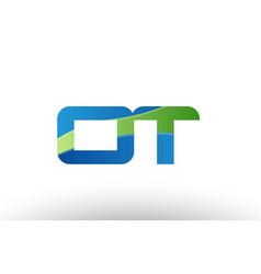 blue green ot o t alphabet letter logo vector image