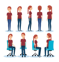 Businesswomen posing on office chair and stand vector