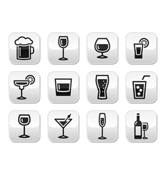 Drink alcohol beverage buttons set vector image vector image
