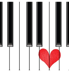 Heart love music piano vector image vector image