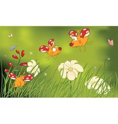 Ladybirds and flower glade cartoon vector image vector image