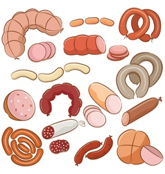 Meats doodles vector image