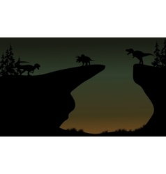 Silhouette of Triceratops and Allosaurus vector image vector image