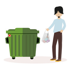 the guy throws the waste package into the garbage vector image vector image