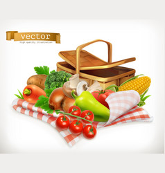 farm and harvest realistic vegetables tomato vector image