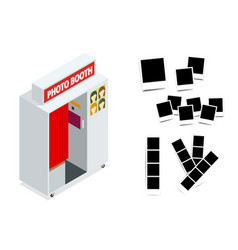 isometric compact photo booth and photo frames vector image vector image