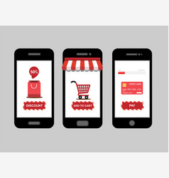 online shopping shop icon set on smartphone vector image vector image