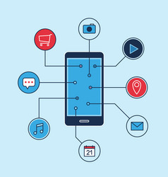 smartphone applications icons business marketing vector image vector image