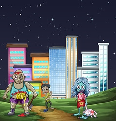 Three zombies walking in the park at night vector image vector image