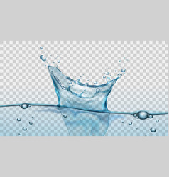 water splash with droplets and bubbles on vector image vector image