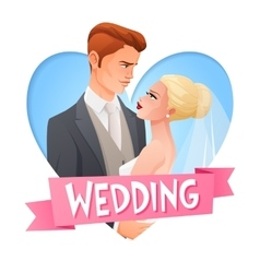 Wedding couple in love image with text vector image