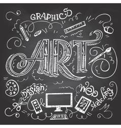 Art hand-lettering typography on chalkboard vector image