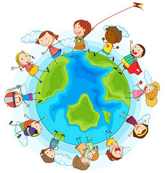 Boys and girls playing around the world vector image