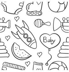 Doodle of baby element on white backgrounds vector