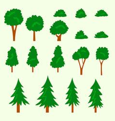 isolated cartoon flat doodle tree bush hand draw vector image vector image