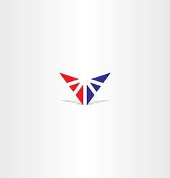 red blue letter v triangle logo vector image