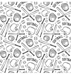 seamless pattern of softball vector image