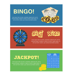 set of three lottery horizontal banners with vector image