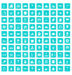 100 bounty icons set grunge blue vector