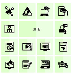 14 site filled icons set isolated on white vector