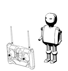 3d model of a robot and a radio remote control vector image