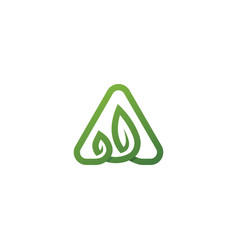 a letter leaf initial nature line art outline vector image