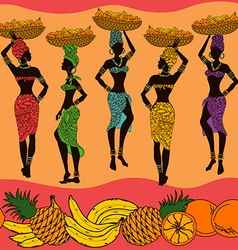African seamless pattern of fruits and street vector