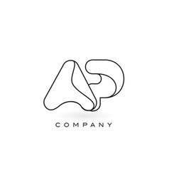 ap monogram letter logo with thin black monogram vector image