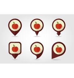 Apple mapping pins icons vector image