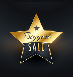 biggest sale star label badge design vector image