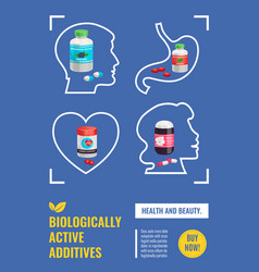 Biological active additives poster vector