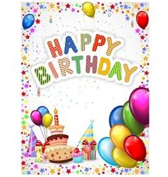 Birthday cartoon with colorful balloon and birthda vector image vector image