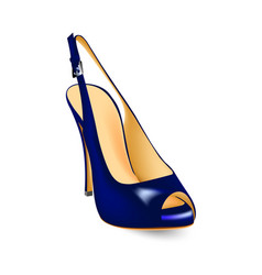 blue shoes with a cut toe sandals with high heels vector image