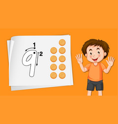 Boy with number nine tracing worksheets vector