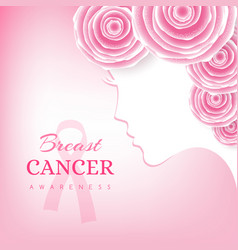 breast cancer awareness card women face silhouette vector image