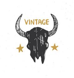 bull or cow skull animal head graphic print vector image