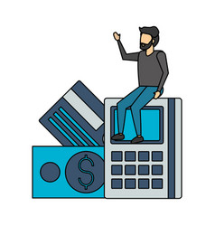 businessman sitting on calculator vector image