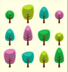 cartoon abstract tree park element colorful design vector image