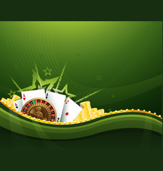 casino gambling green background elements vector image