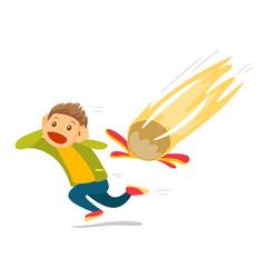 Caucasian white man running from falling meteorite vector