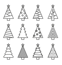 Christmas tree line set vector
