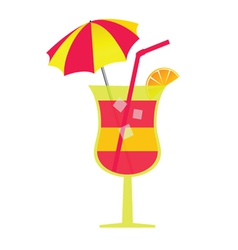 Cocktail with umbrella and ice vector