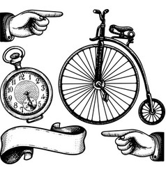 collection victorian classic symbols ink print vector image