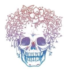 Colorful skull and flower headdress vector
