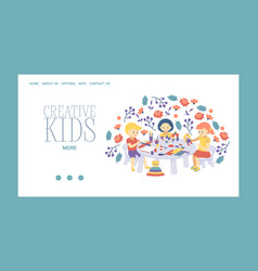 creative kids banner girls vector image